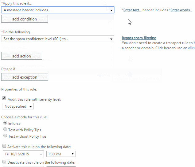 How to whitelist by email headers in Exchange 2013, 2016, or